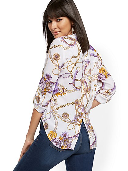 Mixed-Print Button-Back Shirt - Soho Soft Blouse - New York & Company