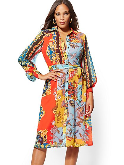 Mixed-Print Chiffon Midi Shirtdress - New York & Company