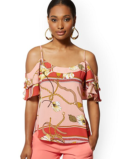 Mixed-Print Cold-Shoulder Blouse - 7th Avenue - New York & Company