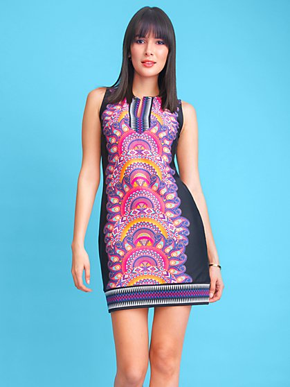 Mixed-Print Cotton Shift Dress - New York & Company