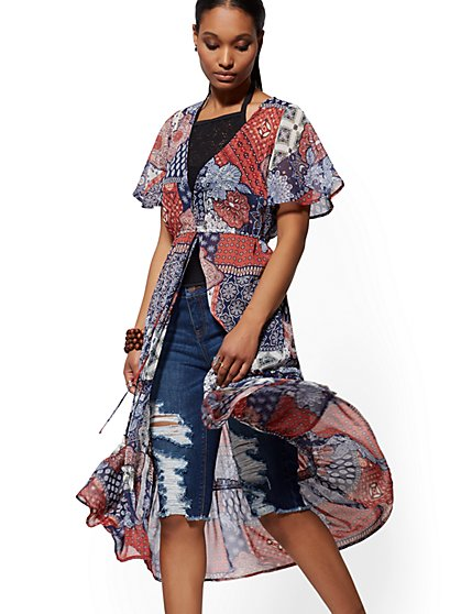 Mixed-Print Duster Topper - New York & Company