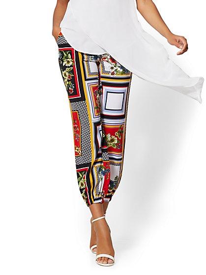 4d68a8e74872 Mixed-Print Flat-Front Slim-Leg Jogger Pant - New York & Company ...