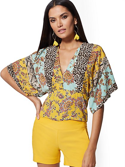 Mixed-Print Flutter-Sleeve Blouse - New York & Company