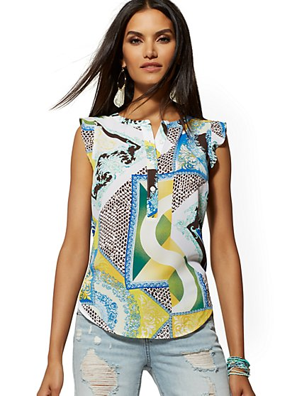 Mixed-Print Flutter-Sleeve Popover Blouse - Soho Soft Shirt - New York & Company