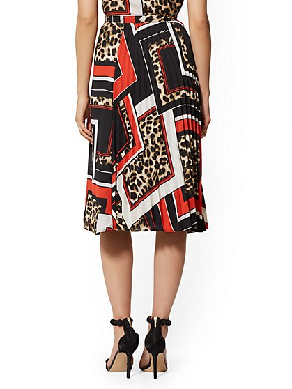 e6e6353e235b89 ... Mixed-Print Full Pleated Skirt - 7th Avenue - New York & Company