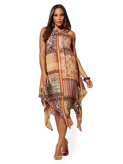 Mixed-Print Halter Handkerchief-Hem Maxi Dress - New York & Company