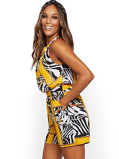 Mixed-Print Halter Romper - New York & Company
