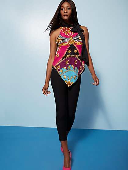 Mixed-Print Handkerchief-Hem Halter Blouse - 7th Avenue - New York & Company