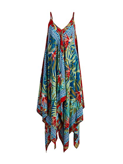Mixed-Print Handkerchief-Hem Swing Dress - New York & Company