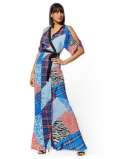 Mixed-Print Kimono Maxi Dress - New York & Company