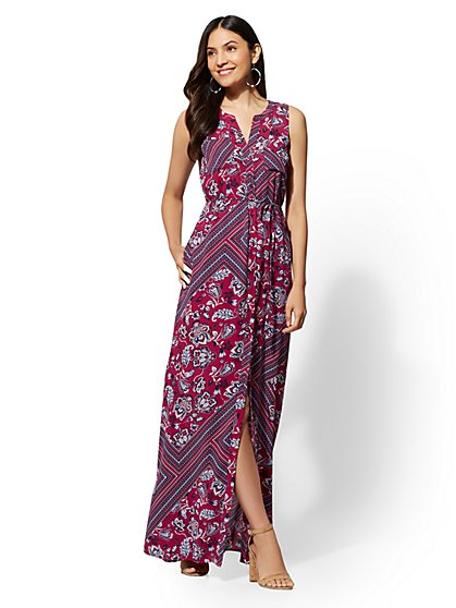 Mixed-Print Maxi Dress - New York & Company
