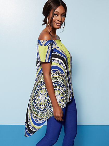 Mixed-Print Off-The-Shoulder Hi-Lo Blouse - New York & Company