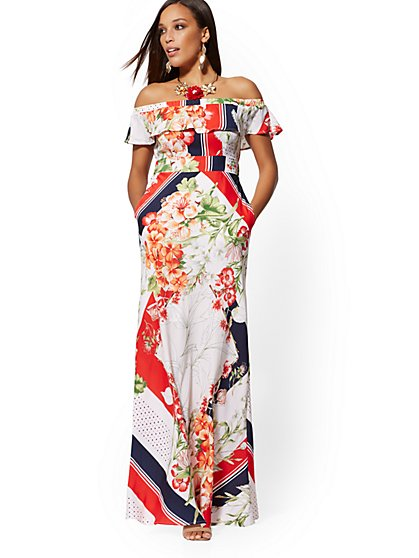 979465d6d89a Mixed-Print Off-The-Shoulder Maxi Dress - New York   Company ...