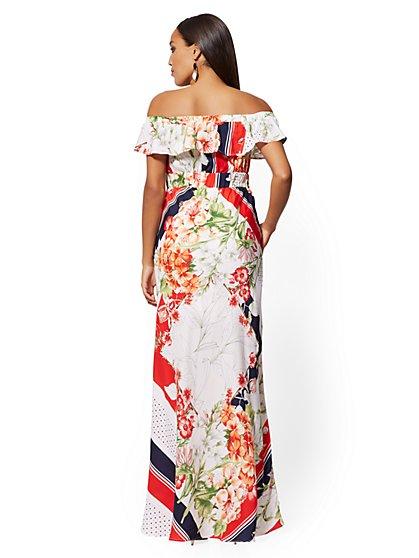 7c8b4d12e652 ... Mixed-Print Off-The-Shoulder Maxi Dress - New York   Company
