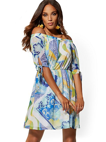 Mixed-Print Off-The-Shoulder Shift Dress - New York & Company