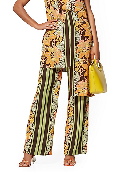 Mixed-Print Palazzo Pant - 7th Avenue - New York & Company