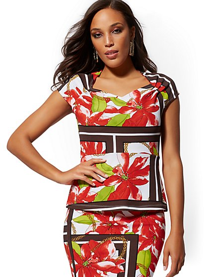 Mixed-Print Peplum Top - 7th Avenue - New York & Company