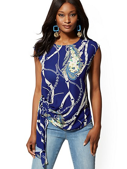 Mixed-Print Pleated Asymmetrical-Hem Blouse - New York & Company