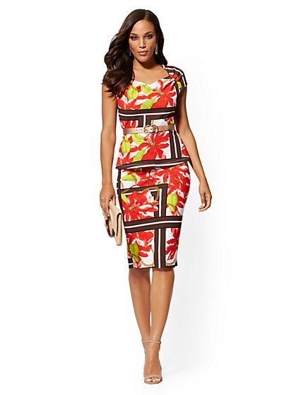 Mixed-Print Pull-On Pencil Skirt - 7th Avenue - New York & Company