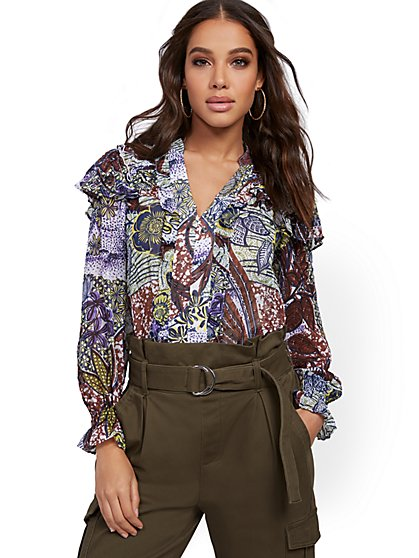 Mixed-Print Ruffle Blouse - New York & Company