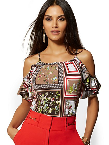 Mixed-Print Ruffled Cold-Shoulder Top - 7th Avenue - New York & Company