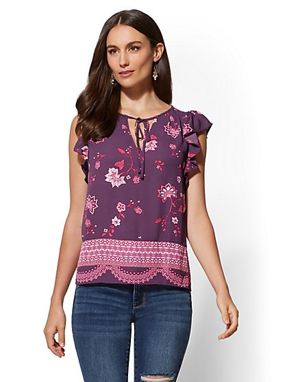 Mixed-Print Ruffled Short-Sleeve Blouse - New York & Company