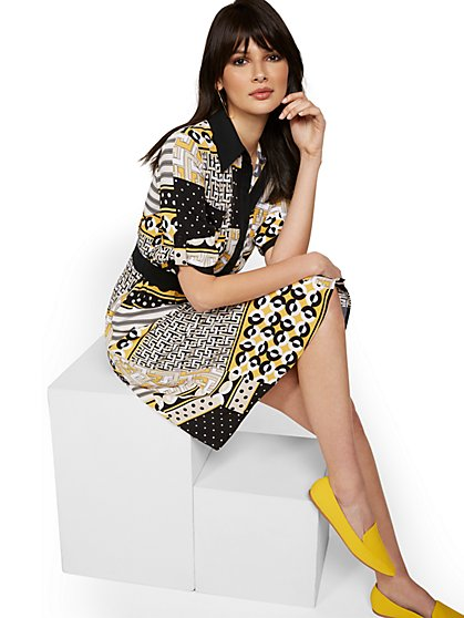 Mixed Print Shirtdress - New York & Company
