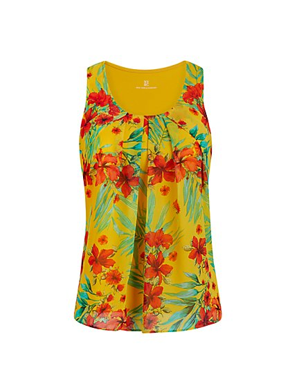 Mixed-Print Sleeveless Top - New York & Company