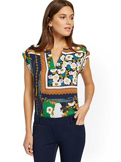 Mixed-Print Split-Neck Top - 7th Avenue - New York & Company