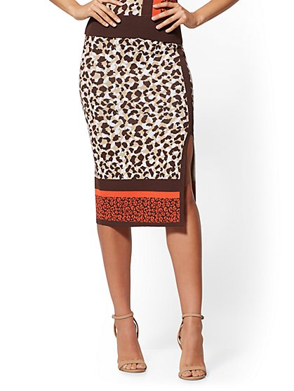 Mixed-Print Sweater Skirt - 7th Avenue - New York & Company