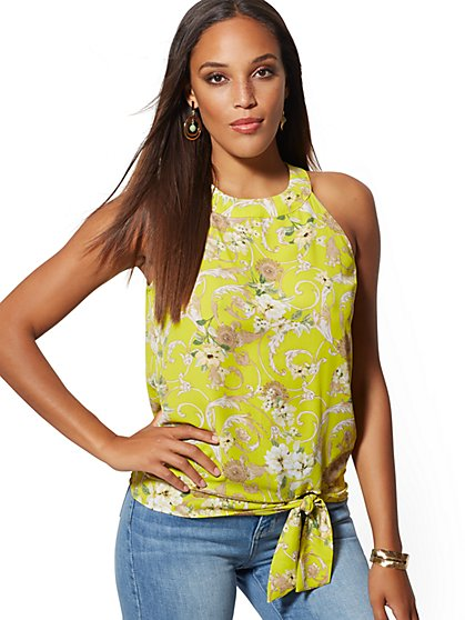 Mixed-Print Tie-Front Halter Blouse - New York & Company