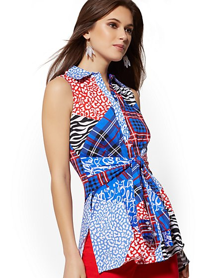 Mixed-Print Tie-Front Hi-Lo Shirt - 7th Avenue - New York & Company