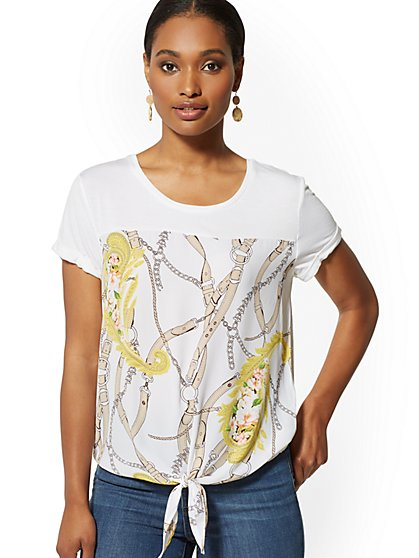 Mixed-Print Tie-Front Tee - Soho Soft Tee - New York & Company