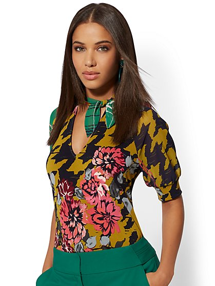 Mixed-Print Tie-Front Top - 7th Avenue - New York & Company