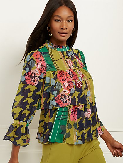 Mixed-Print Tiered Ruffle Blouse - 7th Avenue - New York & Company