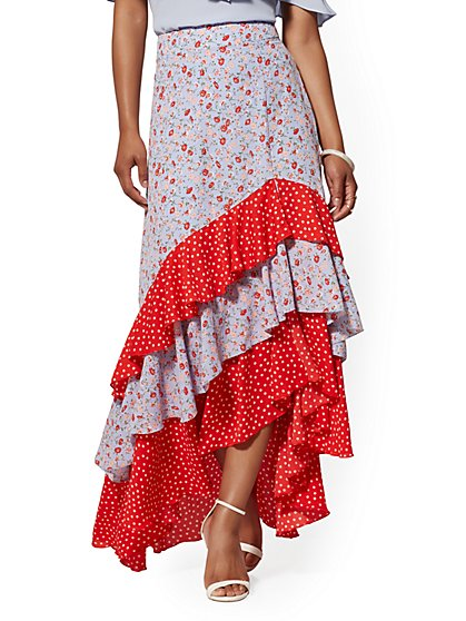 Mixed-Print Tiered Ruffled Asymmetrical Skirt - New York & Company