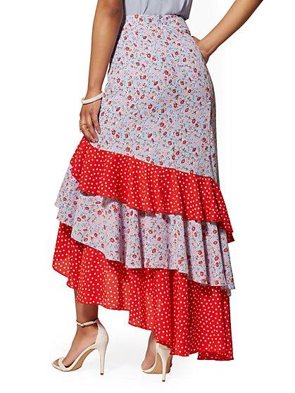 64d45b51f ... Mixed-Print Tiered Ruffled Asymmetrical Skirt - New York & Company ...