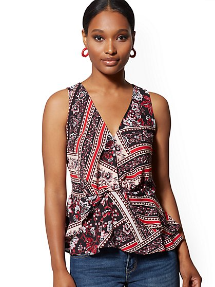 Mixed-Print Twist-Front Peplum Blouse - New York & Company