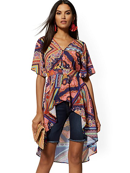 Mixed-Print V-Neck Hi-Lo Blouse - New York & Company