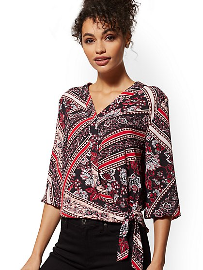 Mixed-Print Wrap Blouse - Soho Soft Blouse - New York & Company