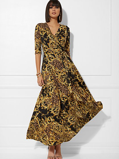 Mixed-Print Wrap Maxi Dress - New York & Company