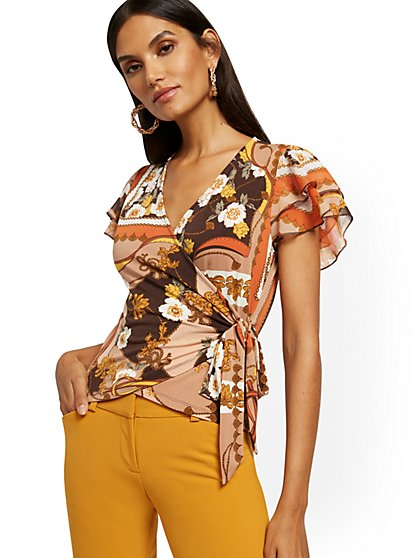 Mixed-Print Wrap Top - 7th Avenue - New York & Company