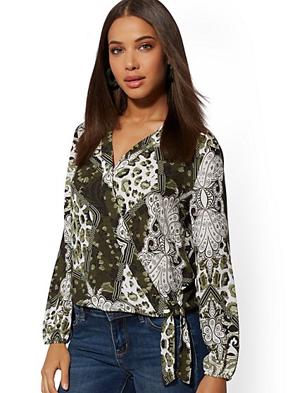 Mixed-Print Wrap Top - Soho Soft Blouse - New York & Company
