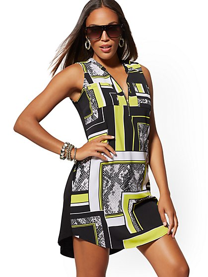 754e444e1cf0 Mixed-Print Zip-Front Shirt Dress - New York & Company ...