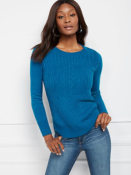 Mixed-Stitch Hi-Lo Sweater - New York & Company