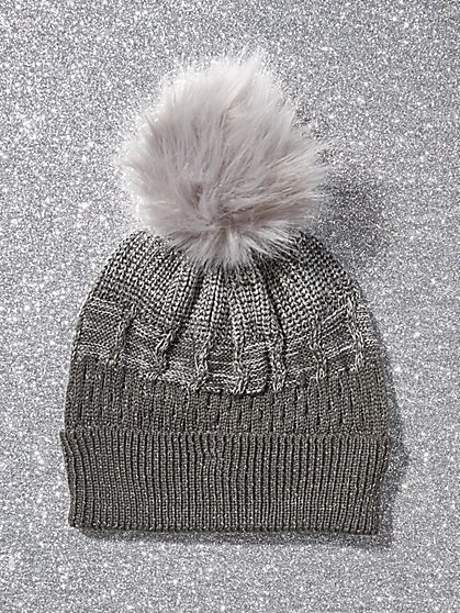 Mixed-Stitch Pom-Pom Hat - New York & Company