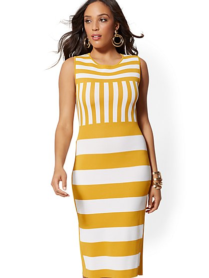 Mixed-Stripe Sheath Sweater Dress - New York & Company