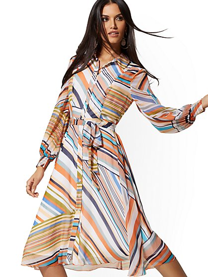 Mixed-Stripe Shirtdress - New York & Company