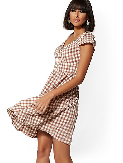 Mocha Gingham Fit & Flare Dress - New York & Company