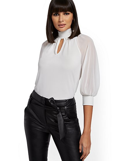 Mock-Neck Balloon-Sleeve Top - 7th Avenue - New York & Company